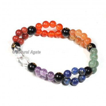 Double Layer 7 Chakra Bracelet with OM