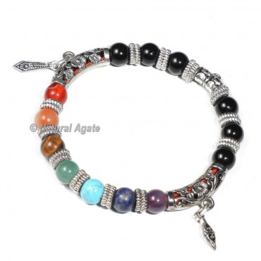 7 Chakra Bracelet with Black Tourmaline