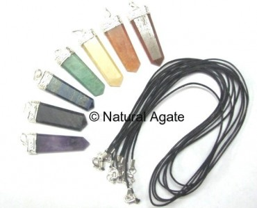 Mix Gemstone Flat Pencil Pendants