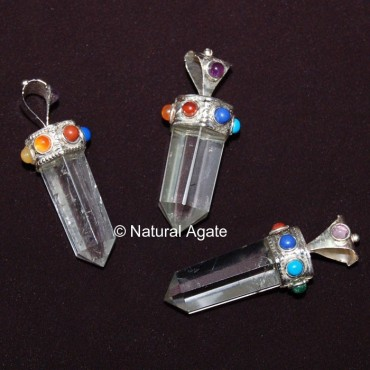 Crystal Quartz Chakra Pendants Point