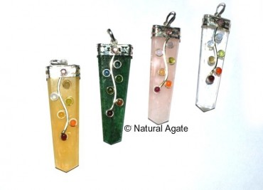 Assorted Gemstone Flate Pencil pendants