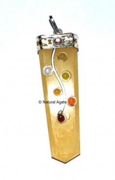 Golden Quartz Chakra Flate Pencil Flower Pendants