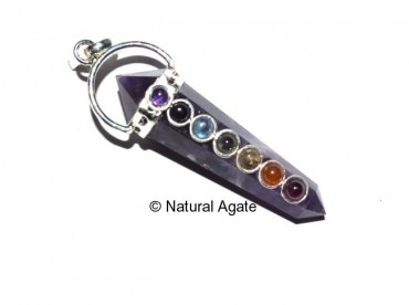 Amethsyt Double Point Chakra Pendants