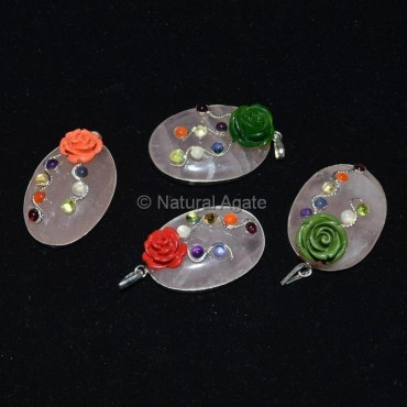 Rose Quartz Oval Chakra Pendant