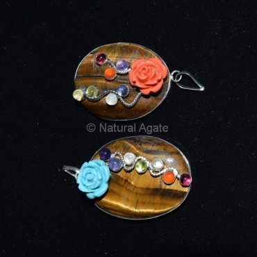 Tiger Eye Oval Stone Chakra  Pendant