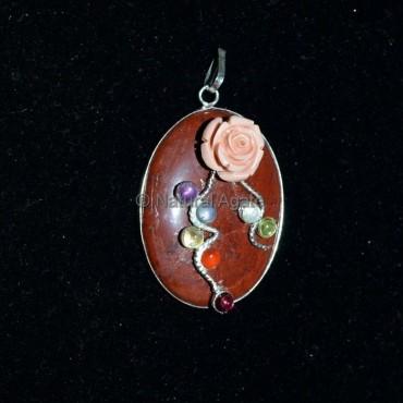 Red Jasper Oval Chakra Pendant