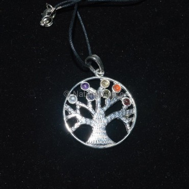 Flower of Life Tree Chakra Pendant With Lather Cor