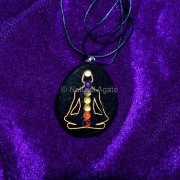 Black Tourmaline7 Chakra Buddha Pendant