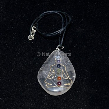 Crystal Quartz Long Buddah Pendant