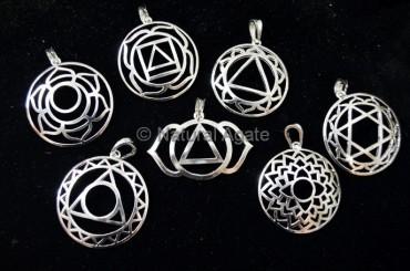 Seven Chakra Symbols Brass Pendants Set
