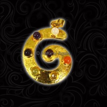 Gold Plated Round Chakra Pendant