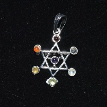 Pentagram 7 Chakra Stone Pendant