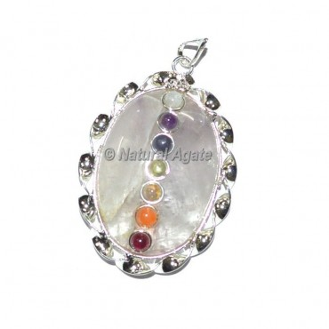Crystal Quartz Oval Seven Chakra Pendants