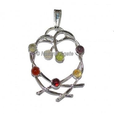 7 Chakra Heart  Metal Pendants