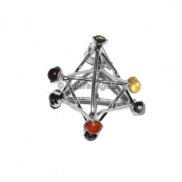 Merkaba Star Seven Chakra Metal Pendants
