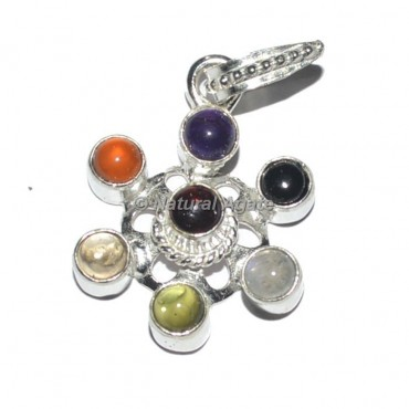 Flower Seven Chakra Metal Pendants