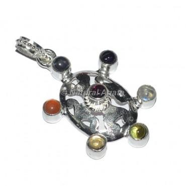 Oval Seven Chakra Metal Pendants