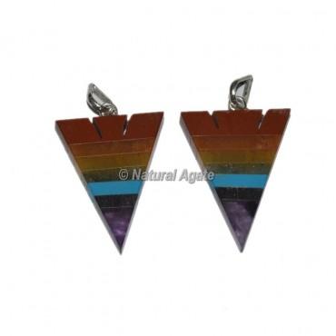 Seven Chakra Bonded Arrowhead Shape Pendants
