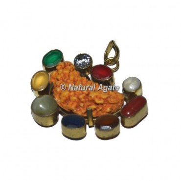 9 Stone  with Rudraksha Pendants