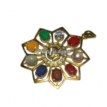 Om Golden 9 Stone Pendants
