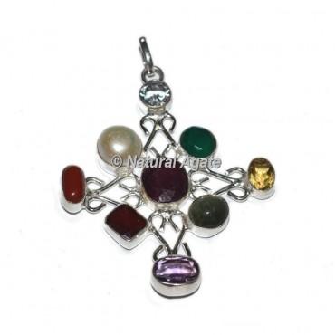 Nine Stone Healing Silver Pendants