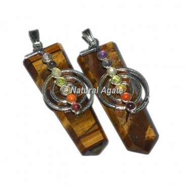 Tiger Eye Flat Pencil With Choko Reiki Pendants