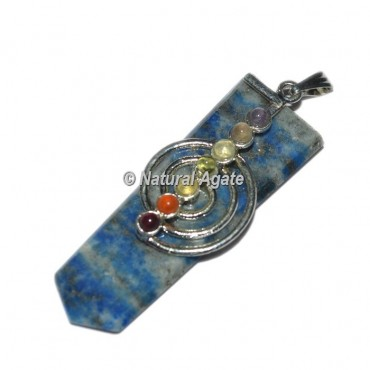 Choko Reiki With Chakra Stone Lapis Lazuli Flat Pencil Pendants