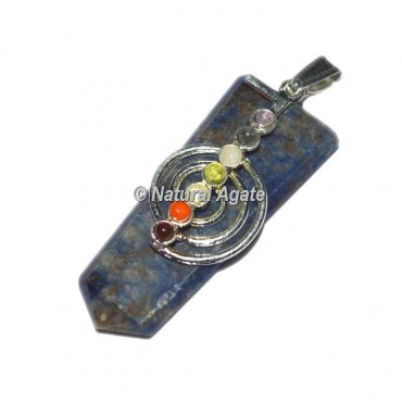 Choko Reiki With Chakra Stone Sodalite Flat Pencil Pendants