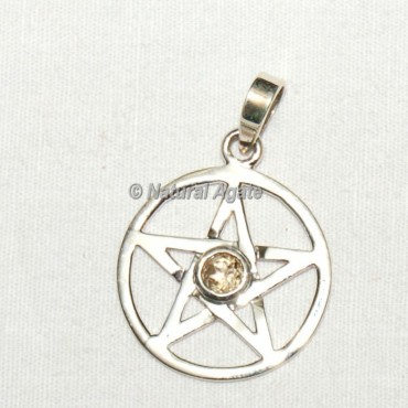 Pentagram with Citrine Pendants