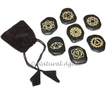 Black Agate Engraved Chakra Sets
