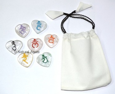 Sanskrit crystal Color Chakra set With Pouch