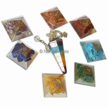 Orgone Chakra Pyramids kit with Pendulums