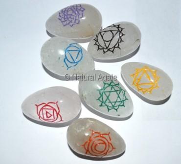 Chakra Engraved Color Lingam Set