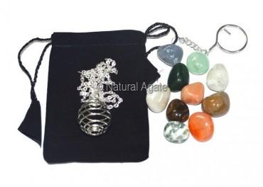 Chakra Tumbled Cage Necklace Set