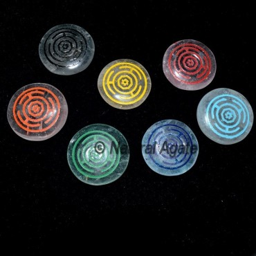 Engraved Color Wheel Quartz Chakra Set