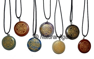 Engraved Wheel Chakra Pendants Set