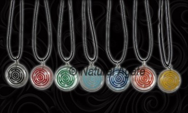 Engraved Color Wheel Quartz Chakra Pendants Set