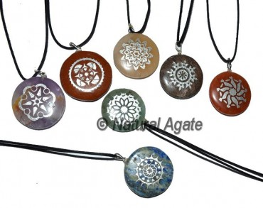 Engraved Silver Traditional Chakra Pendants Set