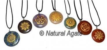 Engraved Traditional Engraved Chakra Pendants Set
