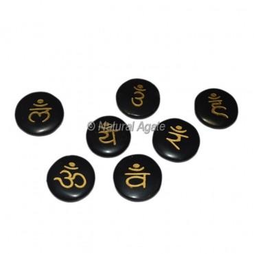 Black Agate Chakra Sanskrit Disc Set