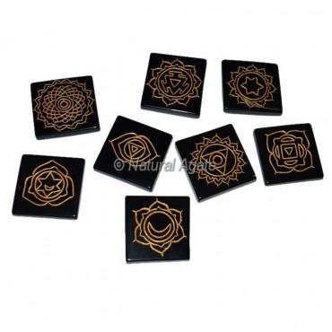 Black Agate Square Thymus chakra set