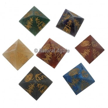 4 Sided Engraved Pyramids Chakra Sets