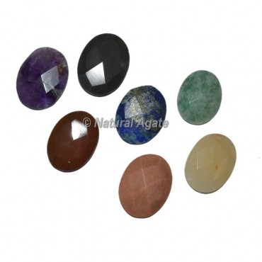 Faceted Seven Chakra Oval Chakra Sets