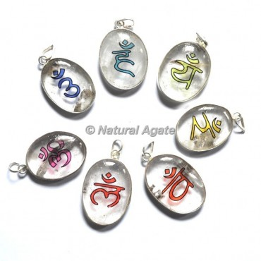 Crystal Quartz Colorful Seven Chakra Stone Pendants