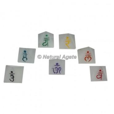 White Agate Sanskrit Engraved Pyramid chakra set