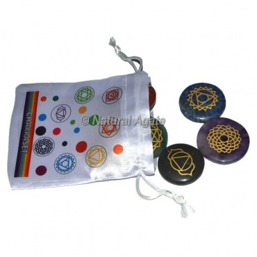 Seven Chakra Engraved with Colorful Pouch