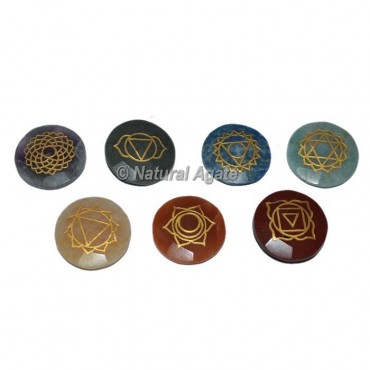 Faceted Engraved Round Chakra Set