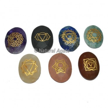 Engraved Faceted Chakra Oval Set