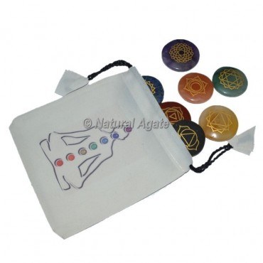 Seven Chakra Engraved Set With White Buddha Pouch