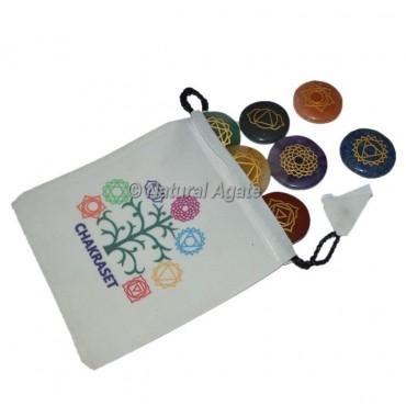 Seven Chakra Engraved  Disc Set With White Chakra Pouch